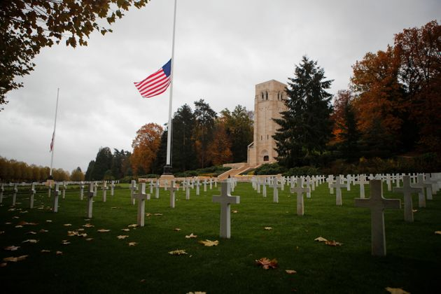 The US flag flutters at half mast prior to a ceremony at the Aisne-Marne American cemetery and memorial in Belleau, eastern France.