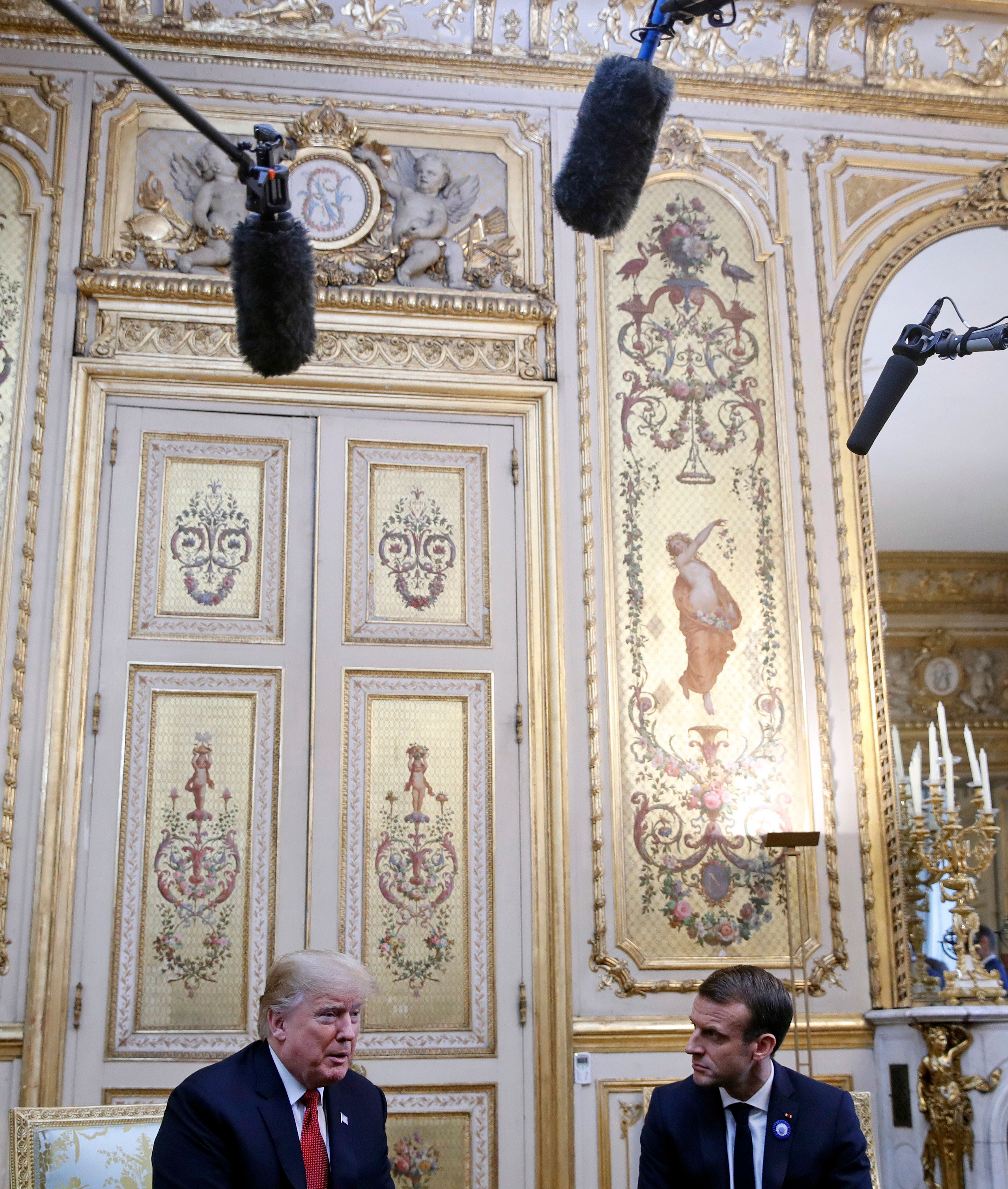 U.S. President Donald Trump meeting with French President Emmanuel Macron on
