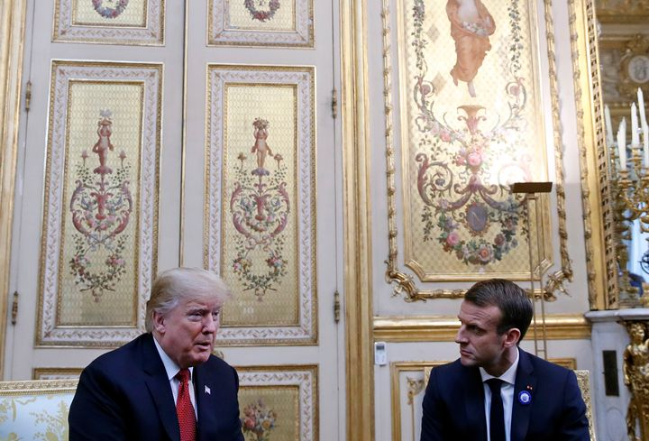 U.S. President Donald Trump meeting with French President Emmanuel Macron on Saturday.