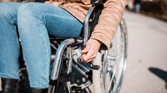 Close up of a woman in a wheelchair