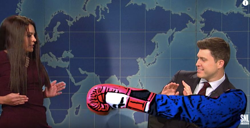 "Colin Jost's fake intern punch in Acosta spoof on ""Weekend Update."""