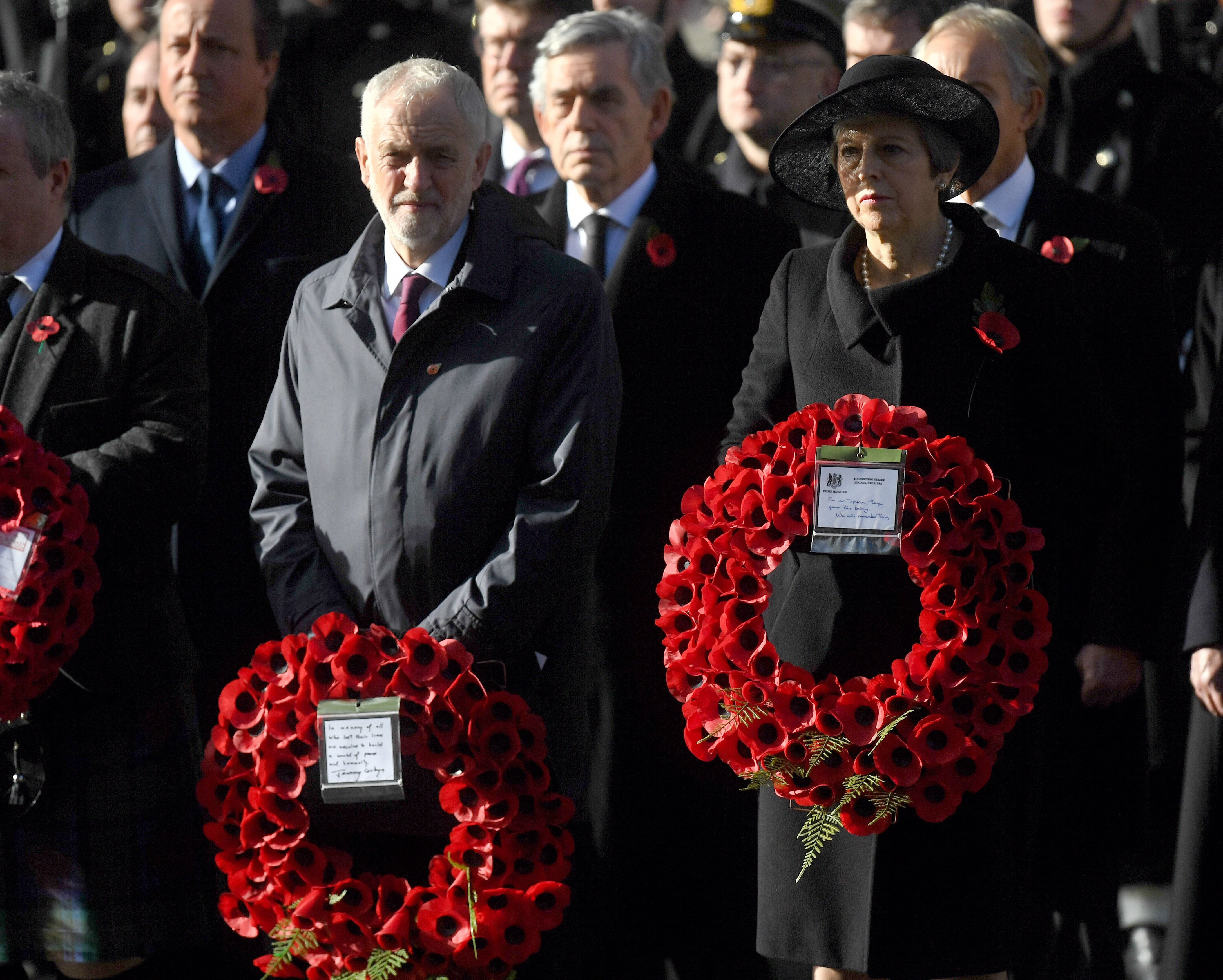 Theresa May And Jeremy Corbyn Lay Wreaths With German President To Mark Armistice Day