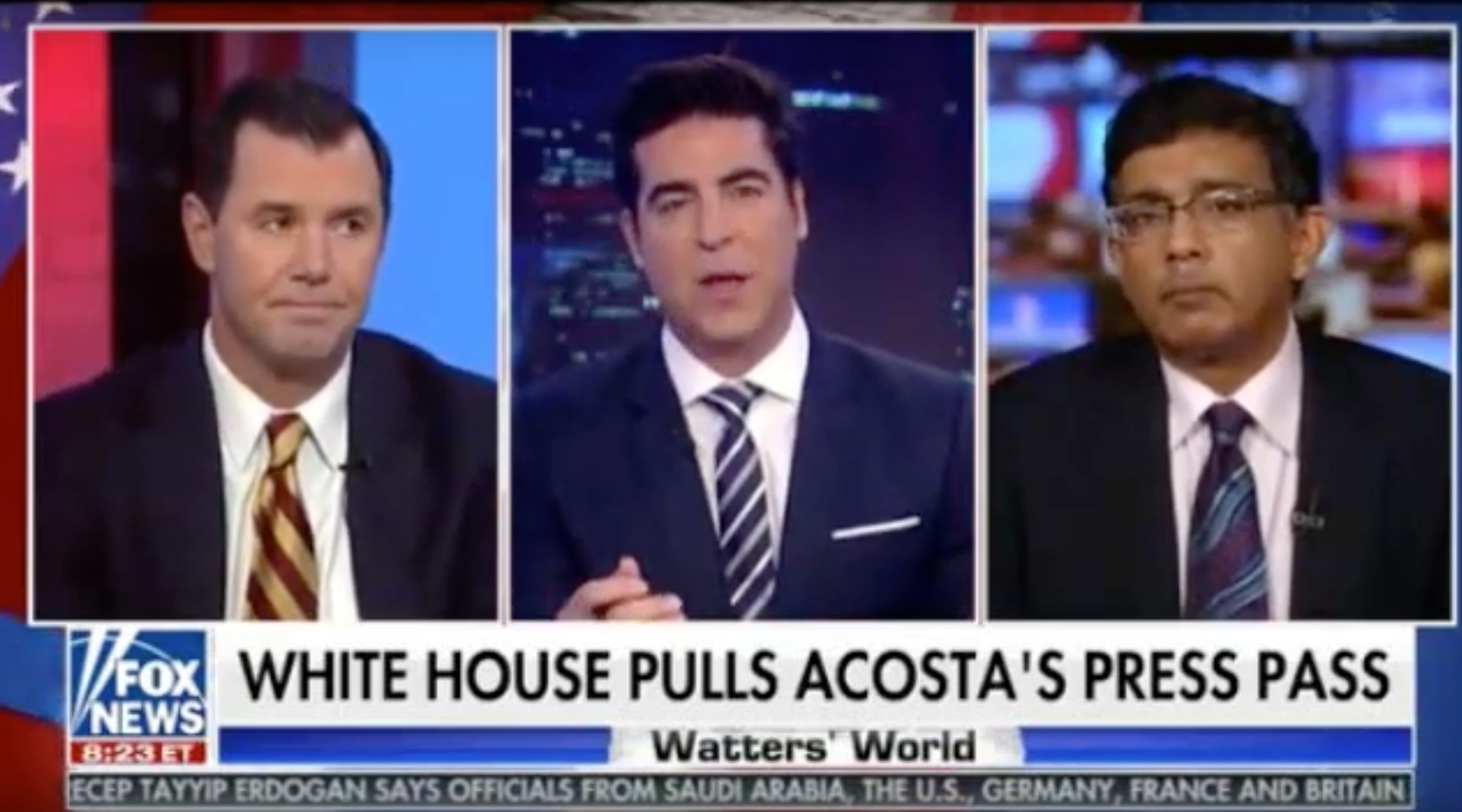 Fox News' Jesse Watters calls CNN's Jim Acosta the Rosa Parks of the press corps.