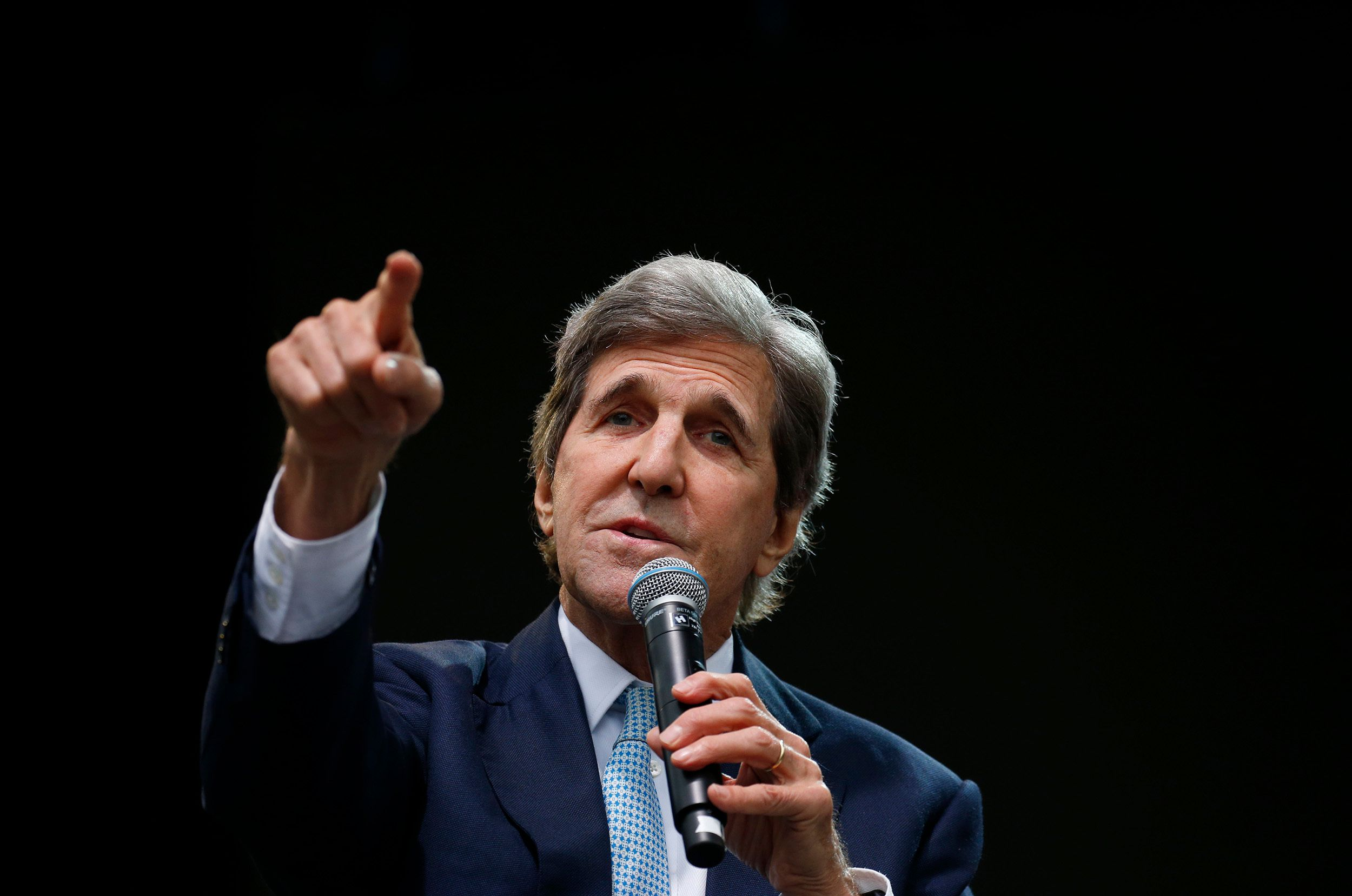Former Massachusetts Senator John Kerry points as he speaks at the Forbes 30 Under 30 Summit, Monday, Oct. 1, 2018, in Boston. (AP Photo/Mary Schwalm)