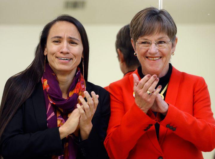 Sharice Davids, the first openly gay person to represent Kansas in Congress, with governor-elect Laura Kelly.