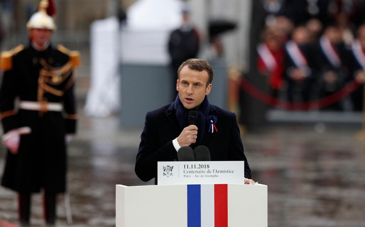 French President Emmanuel Macron delivers his speech during ceremonies at the Arc de Triomphe Sunday, Nov. 11, 2018 in Paris.