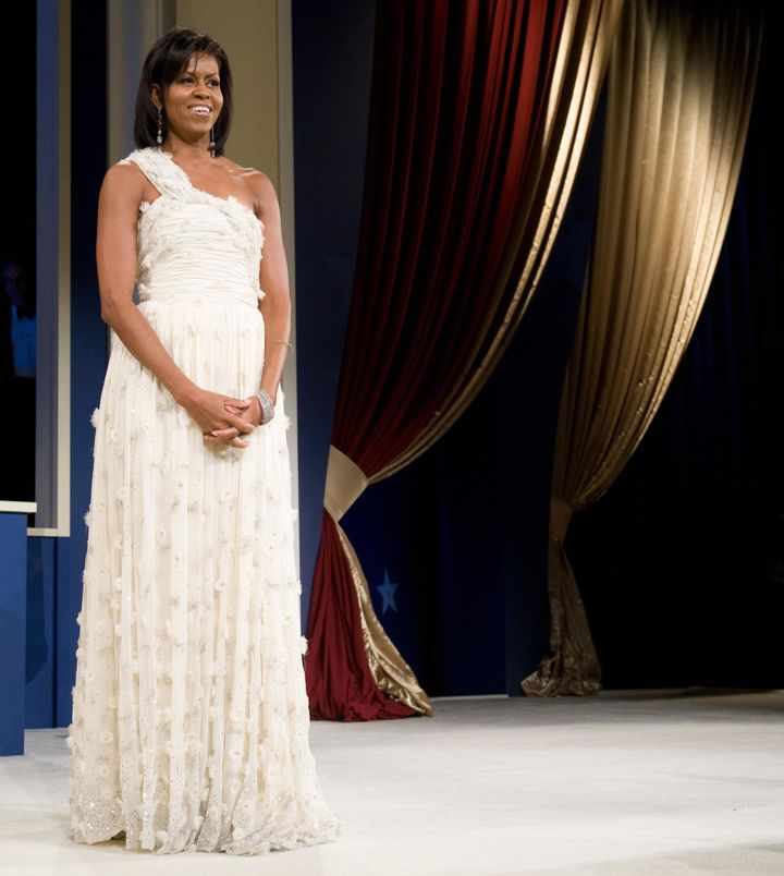 First lady Michelle Obama during the Midatlantic Regional Inaugural Ball at the Washington Convention Center in Washington, J