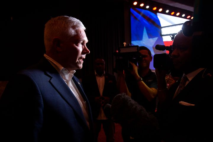 Rep. Pete Sessions (R-Texas) speaks to the media after conceding his House race to Democratic civil rights lawyer Colin Allre