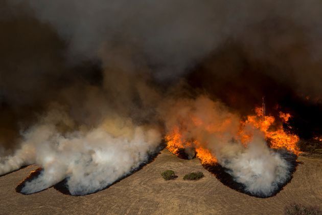 Flames from the Woolsey Fire overtake the Reagan Ranch, once owned by President Ronald Reagan, at...