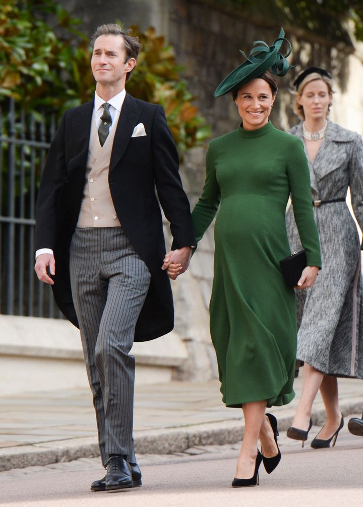James Matthews and Pippa Middleton attend the wedding of Princess Eugenie of York and Jack Brooksbank at St. George's Chapel