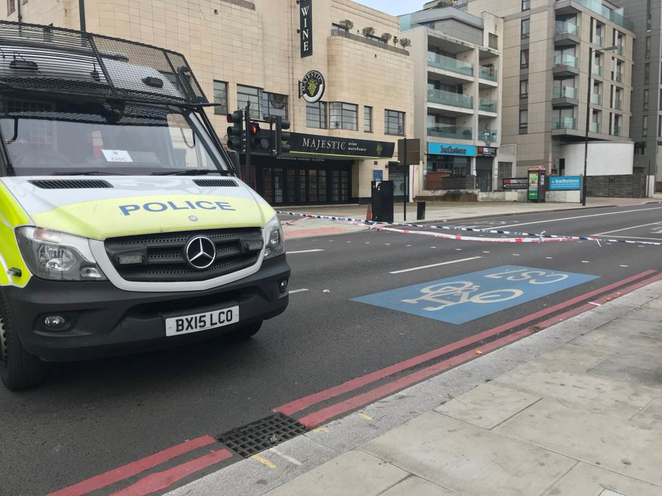 A police cordon near to the scene where a 17-year-old boy died after being stabbed outside Clapham South Tube Station in south west London