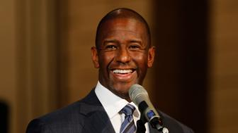 FORT LAUDERDALE, FL - NOVEMBER 11: Florida Democratic gubernatorial candidate Andrew Gillum attends a service to advocate for a vote recount at the New Mount Olive Baptist Church on November 11, 2018 in Fort Lauderdale, Florida. A statewide midterm election recount is underway to decide if Gillum or Republican Ron DeSantis will win the election. (Photo by Joe Skipper/Getty Images)
