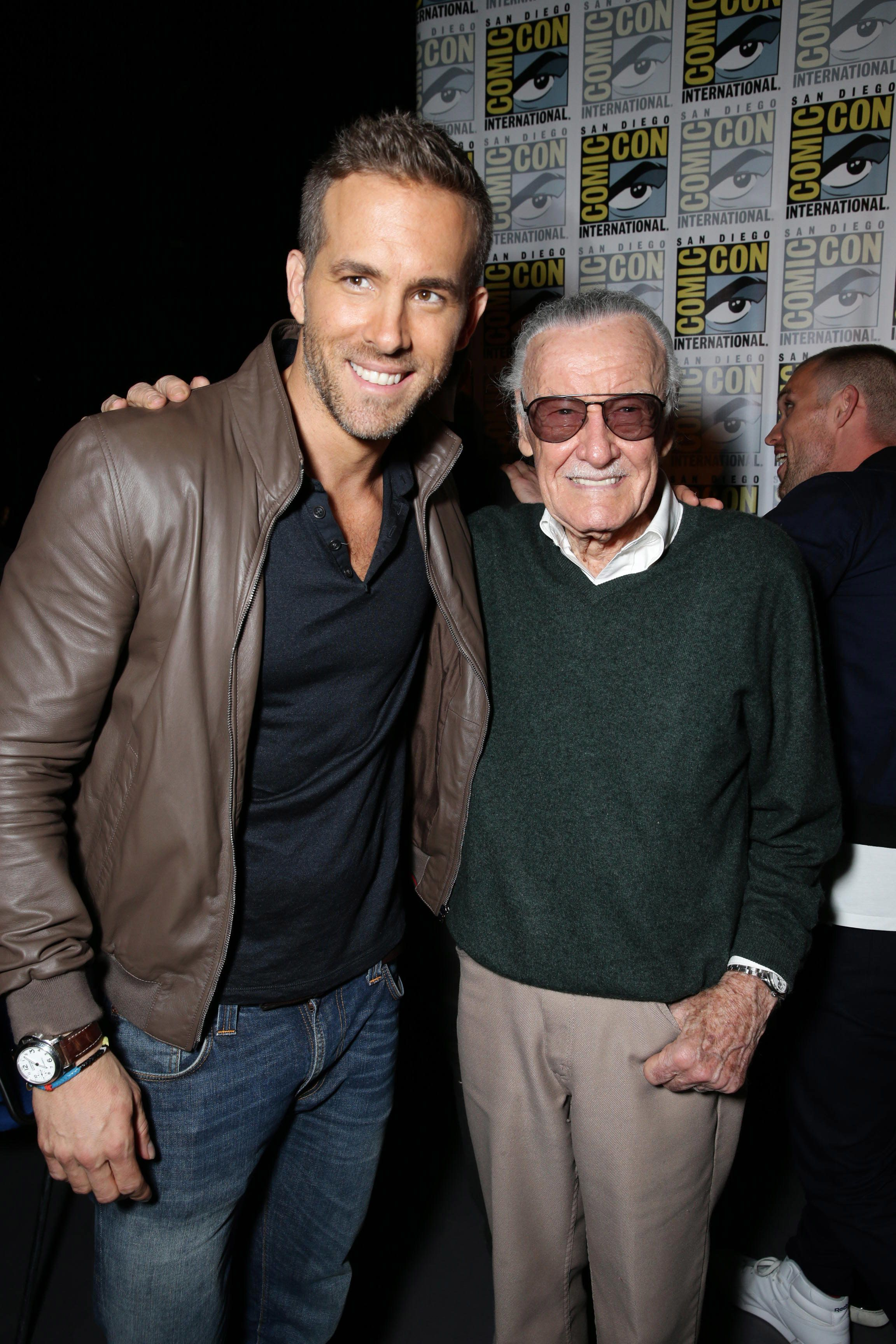 Ryan Reynolds and Stan Lee seen at the Twentieth Century Fox Presentation at 2015 Comic Con on Saturday, July 11, 2015, in San Diego. (Photo by Eric Charbonneau/Invision for Twentieth Century Fox/AP Images)