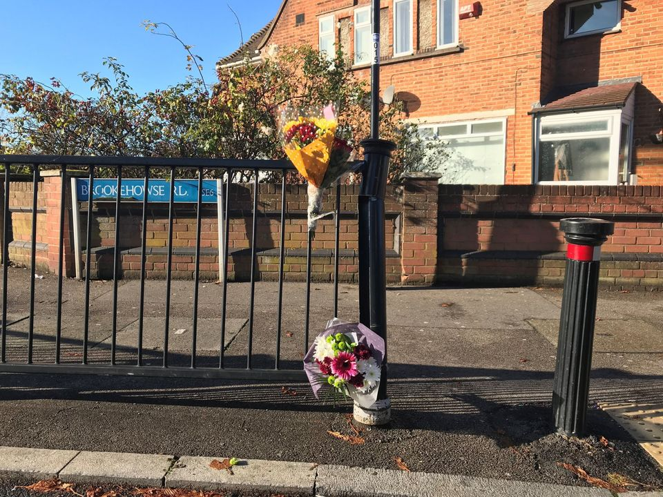 Flowers left at scene in Randlesdown Road in Bellingham, south-east London, where a 15-year-old boy was fatally stabbed.