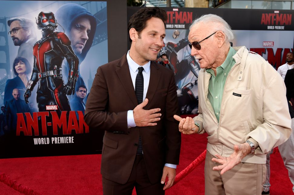 "Paul Rudd, left, star of ""Ant-Man,"" mingles with executive producer Stan Lee at the premiere of the film at The Dolby Theatre"