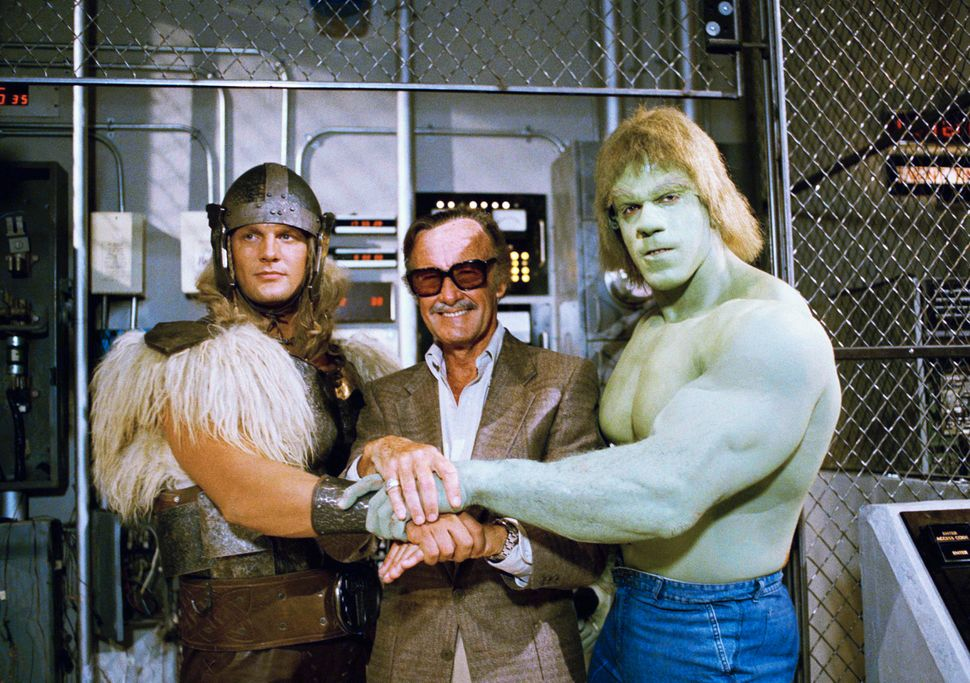 "Stan Lee with Lou Ferrigno, right, and Eric Kramer who portray the Hulk and Thor, in a special movie for NBC, ""The Incr"