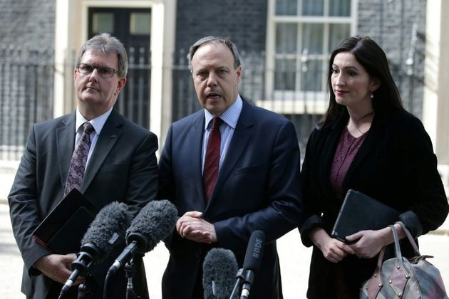 The DUP's Jeffrey Donaldson (left) with fellow MPs Nigel Dodds and Emma Little
