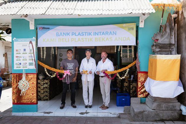 Wisaka Pradipta of Plastic Bank (left), Fisk Johnson, Chairman and CEO of SC Johnson (center), and Plastic...