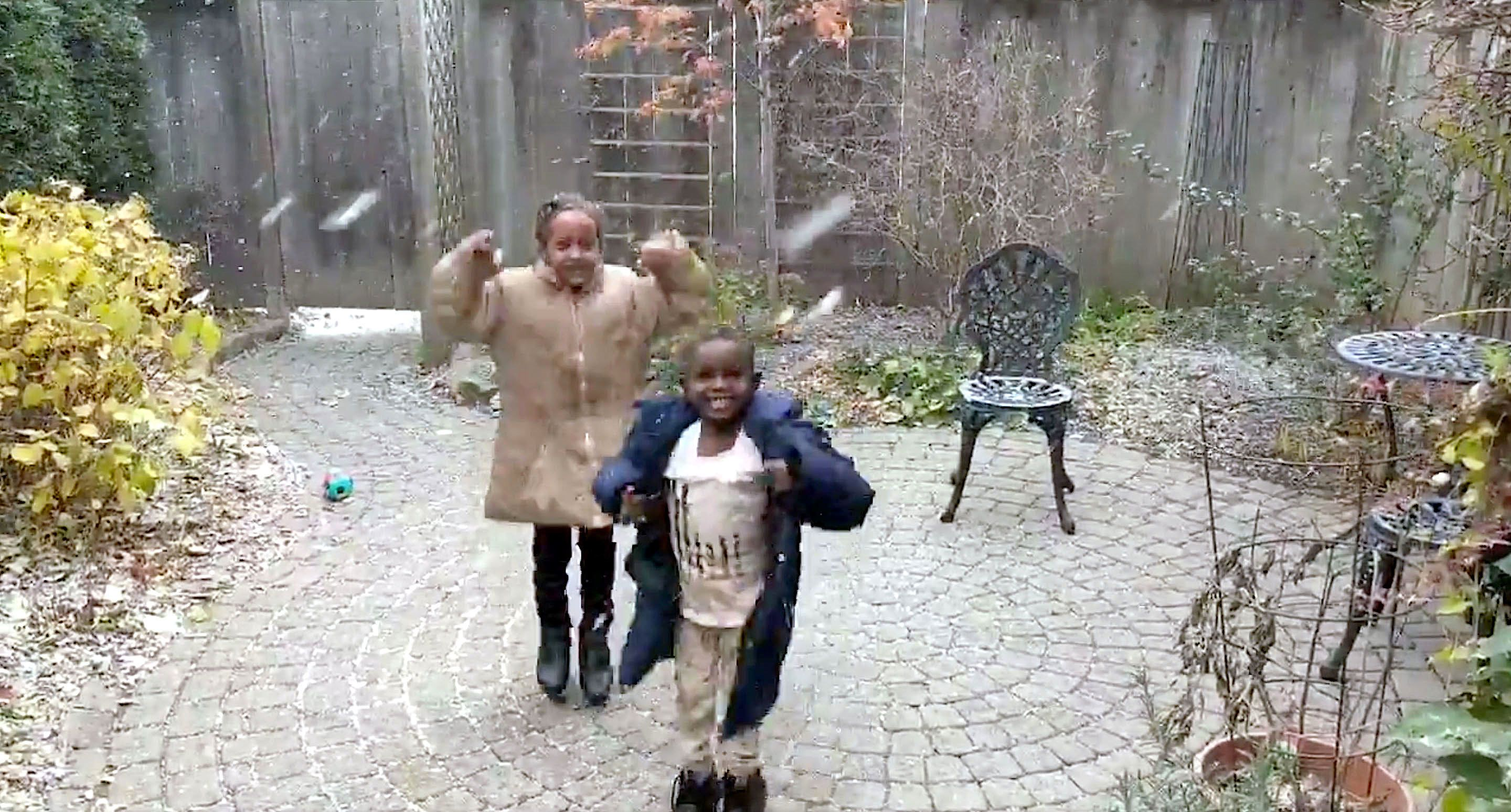 Eritrean refugees experience their first snow in Toronto, Ontario.