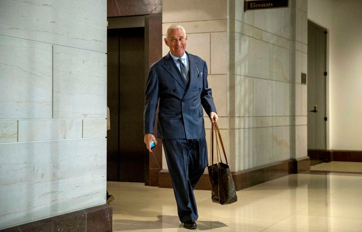 FILE - In this Sept. 26, 2017, file photo, longtime Donald Trump associate Roger Stone arrives to testify before the House In