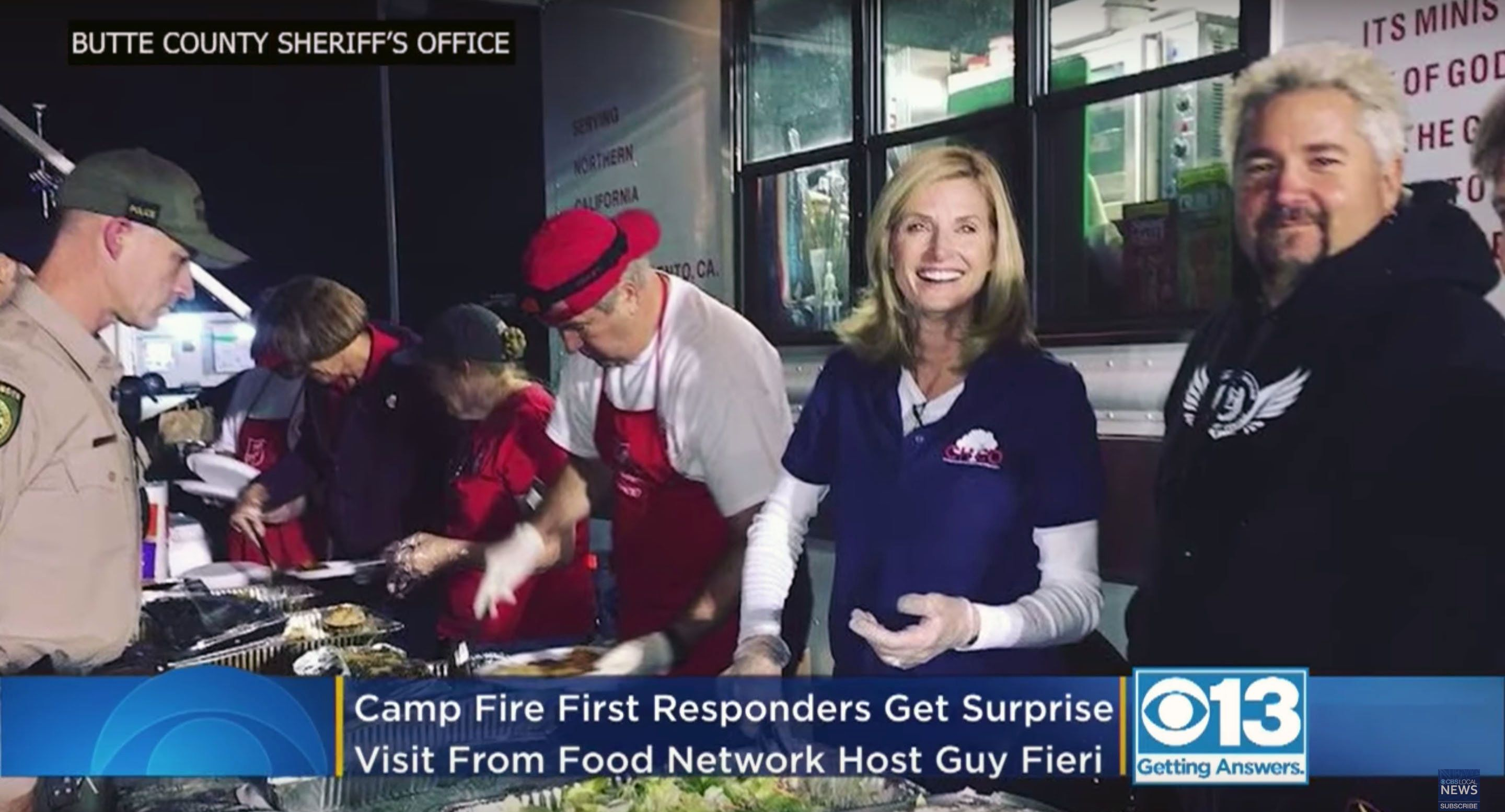 Food Network host Guy Fieri provides food for first responders to the California wildfires.