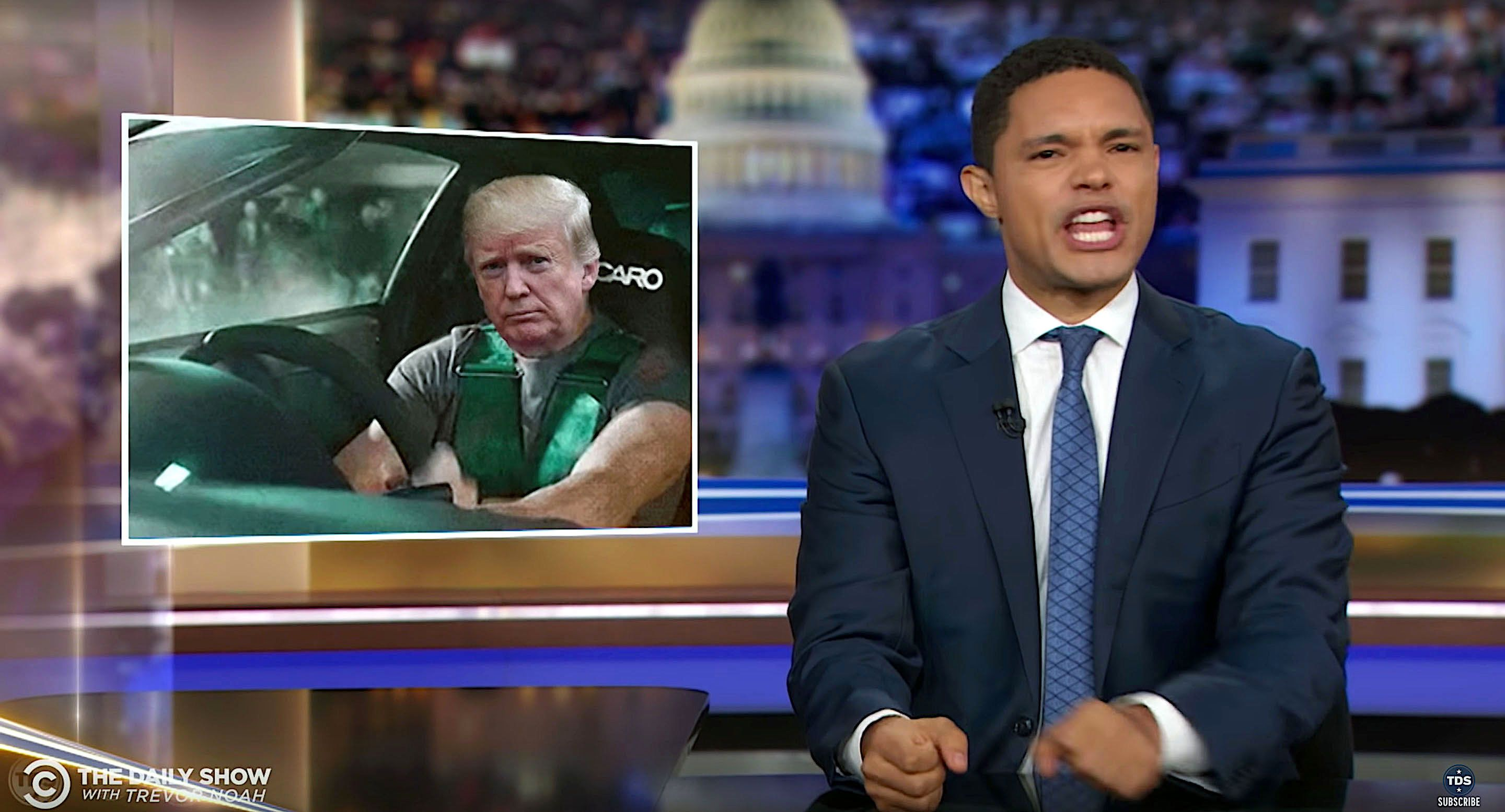 Trevor Noah says President Donald Trump's lies give him whiplash.