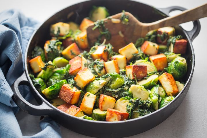 Paneer with brussel sprouts and spinach.