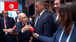 La réaction de Béji Caid Essebsi quand le Quotidien de Yann Barthès l'interroge sur l'absence de Trump du Forum sur la Paix