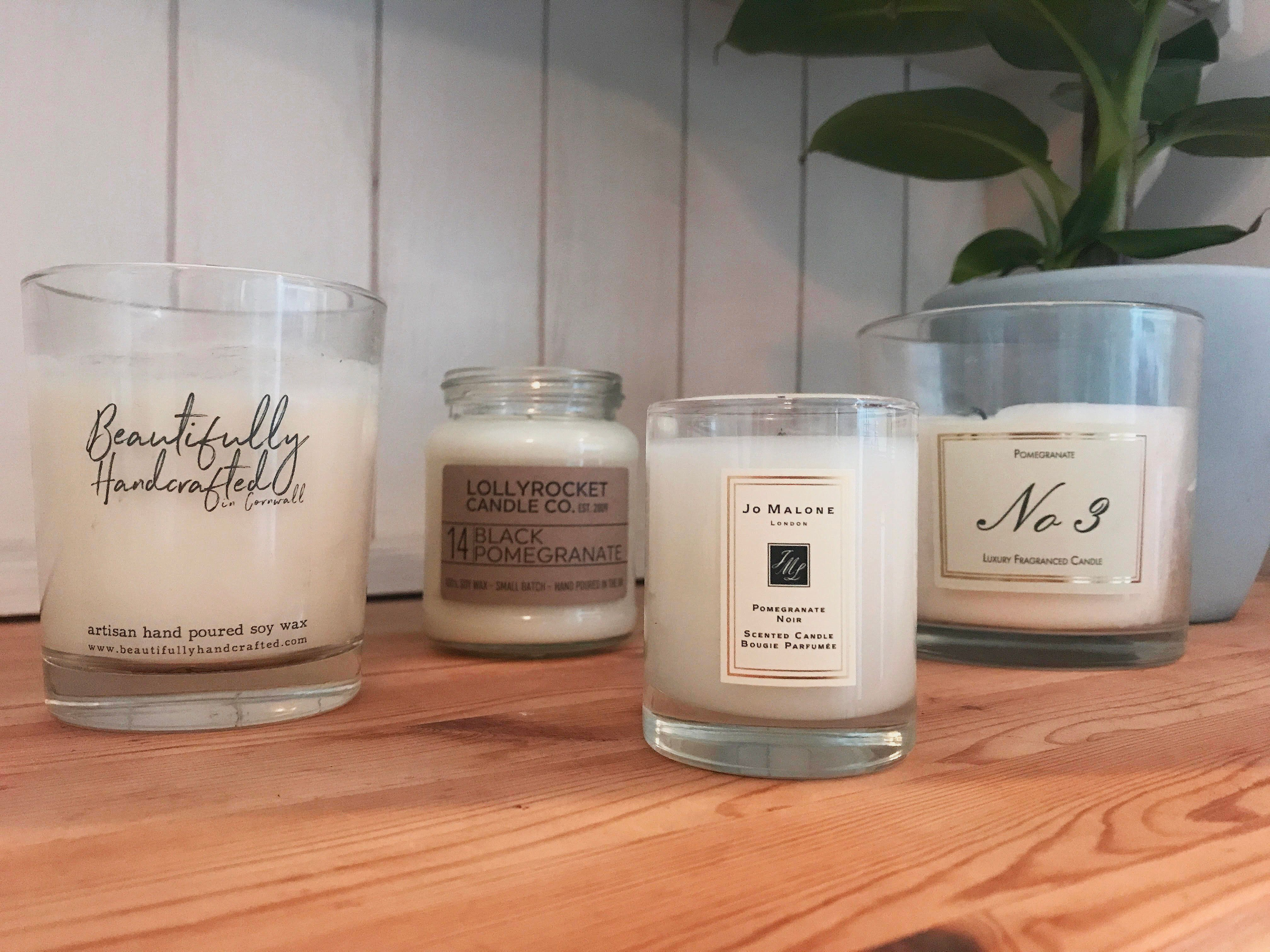 From left to right: candles from Etsy, Not On The High Street, Jo Malone and