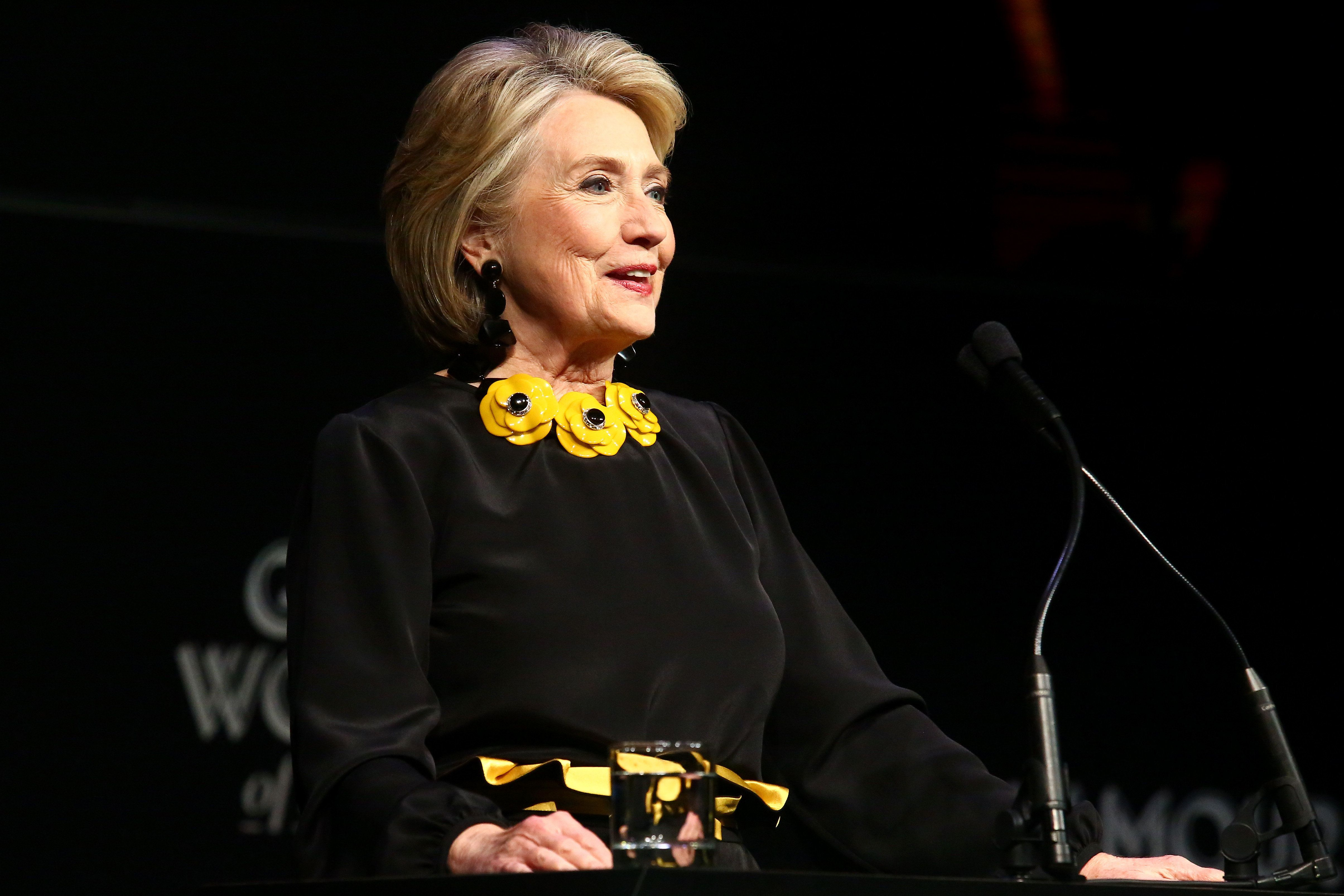NEW YORK, NY - NOVEMBER 12:  Hillary Clinton speaks onstage at the 2018 Glamour Women Of The Year Awards: Women Rise on November 12, 2018 in New York City.  (Photo by Astrid Stawiarz/Getty Images for Glamour)