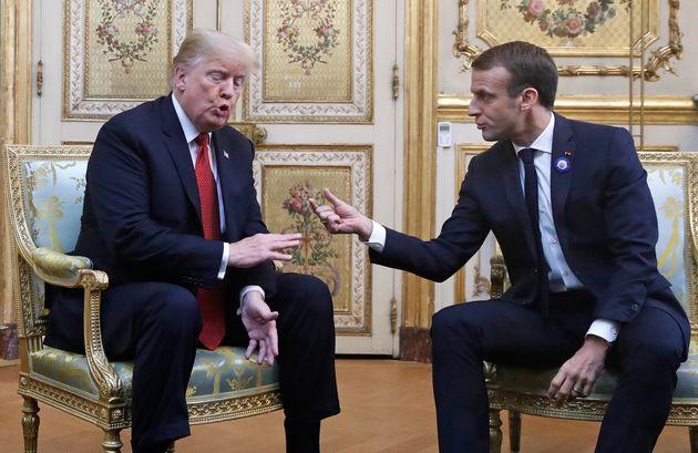 파리에서 돌아온 트럼프가 마크롱을 노골적으로