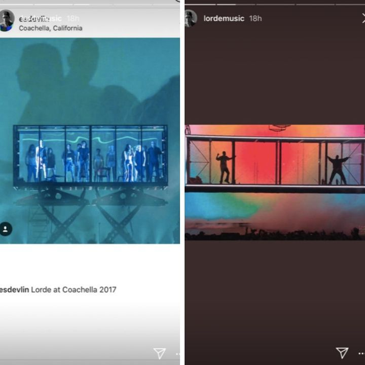 A floating glass box seen at one of Lorde's performances (L) and at Kanye West and Kid Cudi's recent performance (R).