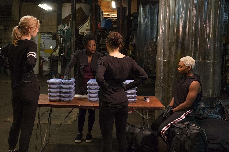 "Elizabeth Debicki, Viola Davis, Michelle Rodriguez and Cynthia Erivo in Steve McQueen's ""Widows."""