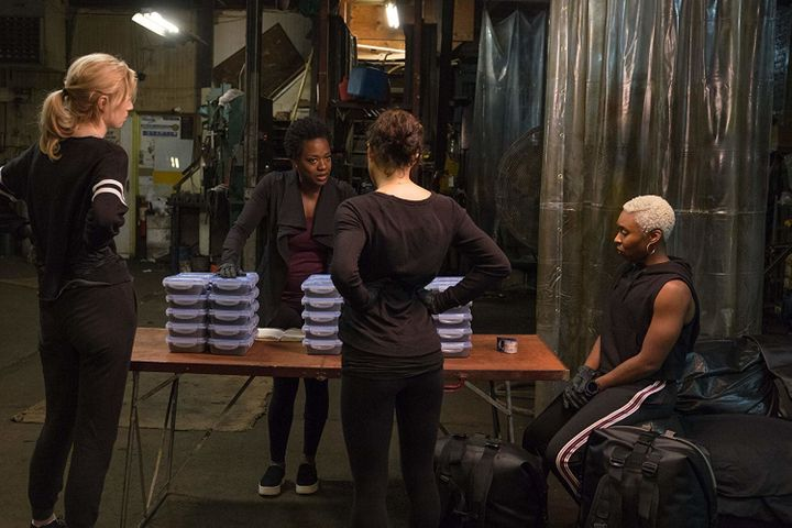 Elizabeth Debicki, Viola Davis, Michelle Rodriguez and Cynthia Erivo plotthe central heist in Steve McQueen's stylish a