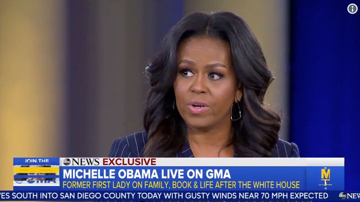 "Michelle Obama praised former first daughters Jenna and Barbara Bush and Chelsea Clinton on ""Good Morning America"" on Nov. 12"