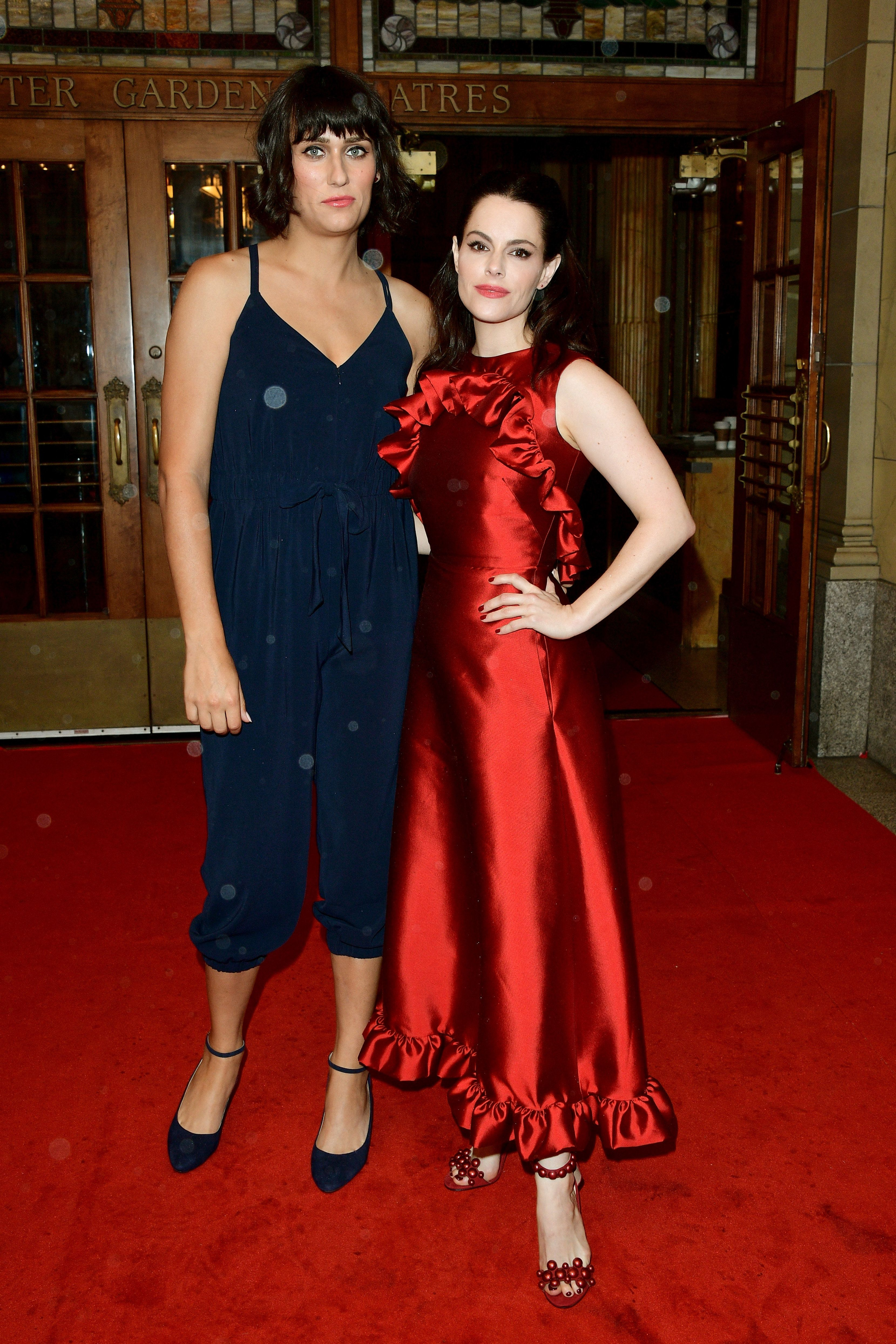 """Singer-songwriter Teddy Geiger (left) and """"Schitt's Creek"""" star Emily Hampshire first confirmed their relationship in Septemb"""