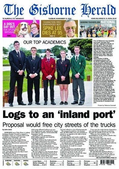 The cover of The Gisborne Herald on Tuesday, November 13.