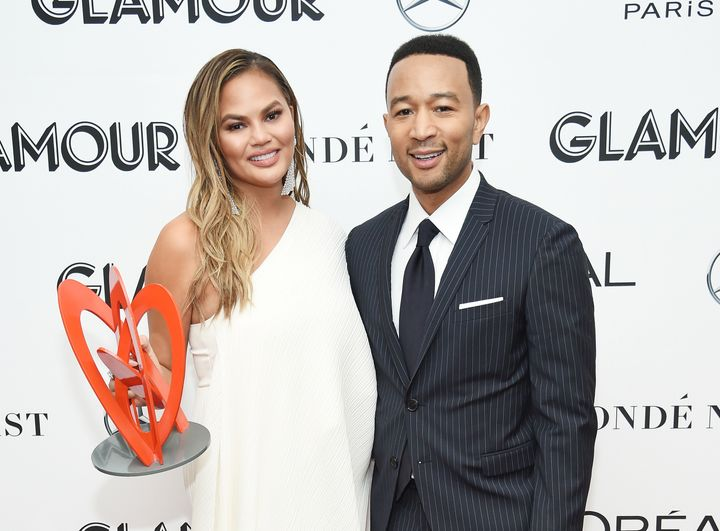 Chrissy Teigen and John Legend attend the 2018 Glamour Women Of The Year Awards Monday night in New York.