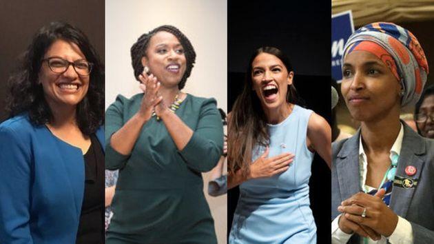 Democratic Reps.-elect Rashida Tlaib, Ayanna Pressley, Alexandria Ocasio-Cortez and Ilhan Omar (left...