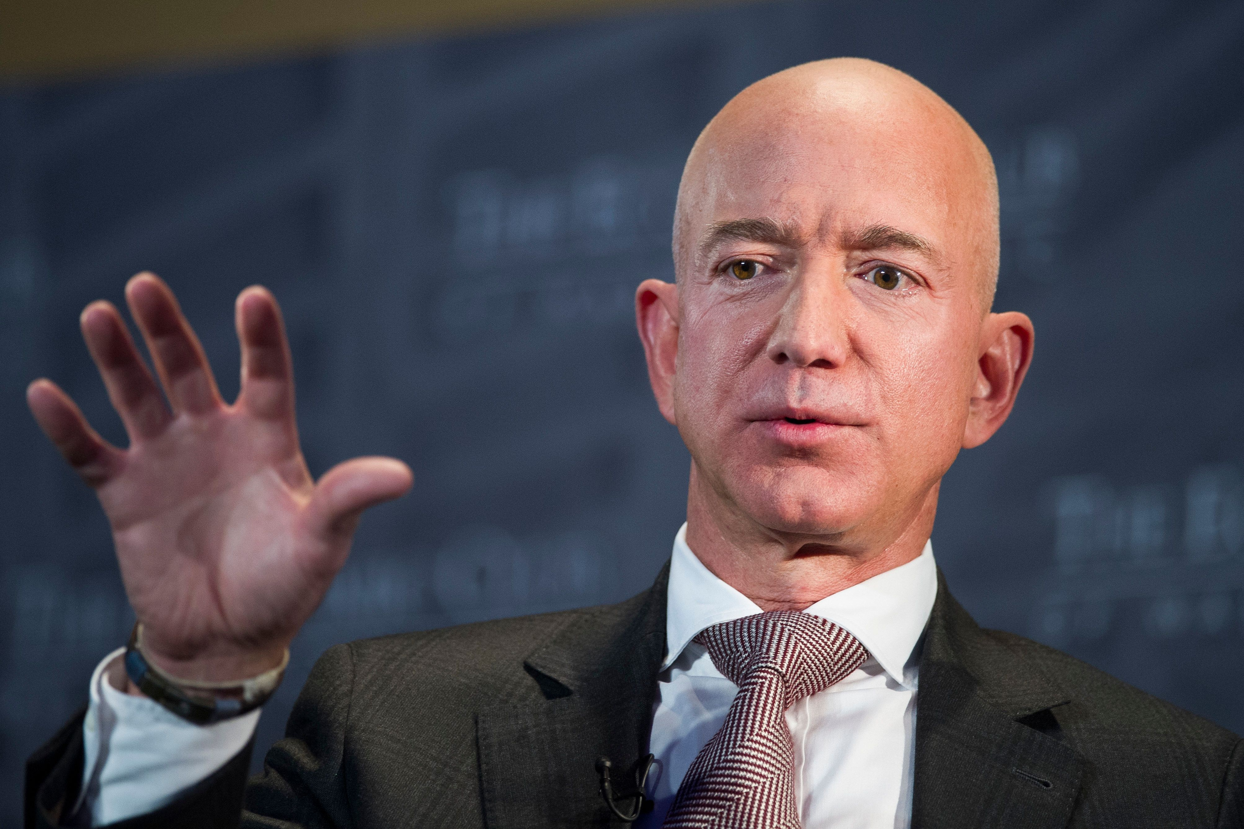 Jeff Bezos, Amazon founder and CEO, speaks at the Economic Club of Washington on Sept. 13, 2018. Elected officials in New Yor