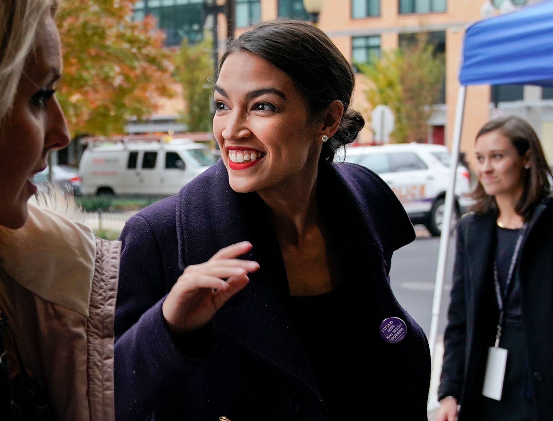 Rep.-elect Alexandria Ocasio-Cortez, D-NY., arrives for orientation for new members of Congress, Tuesday, Nov. 13, 2018, in Washington. (AP Photo/Pablo Martinez Monsivais)
