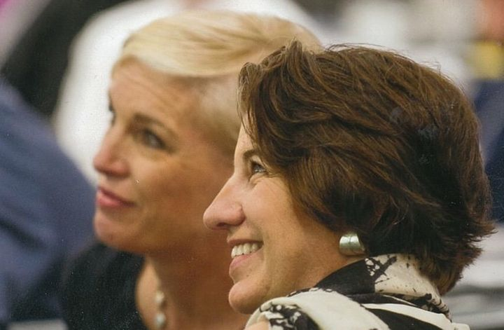 Dawn Laguens (right), outgoing vice president of Planned Parenthood, and former President Cecile Richards are seen in an unda