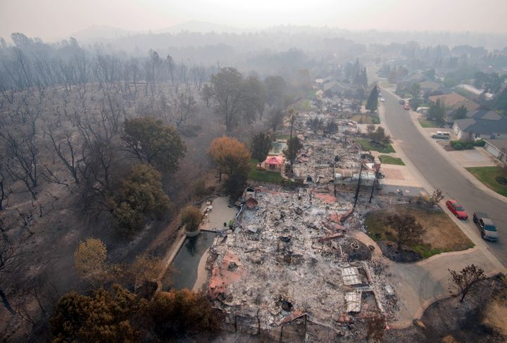 Homes destroyed by a wildfire in the Mary Lake Subdivision of Redding, California, seen on Aug. 10, 2018.