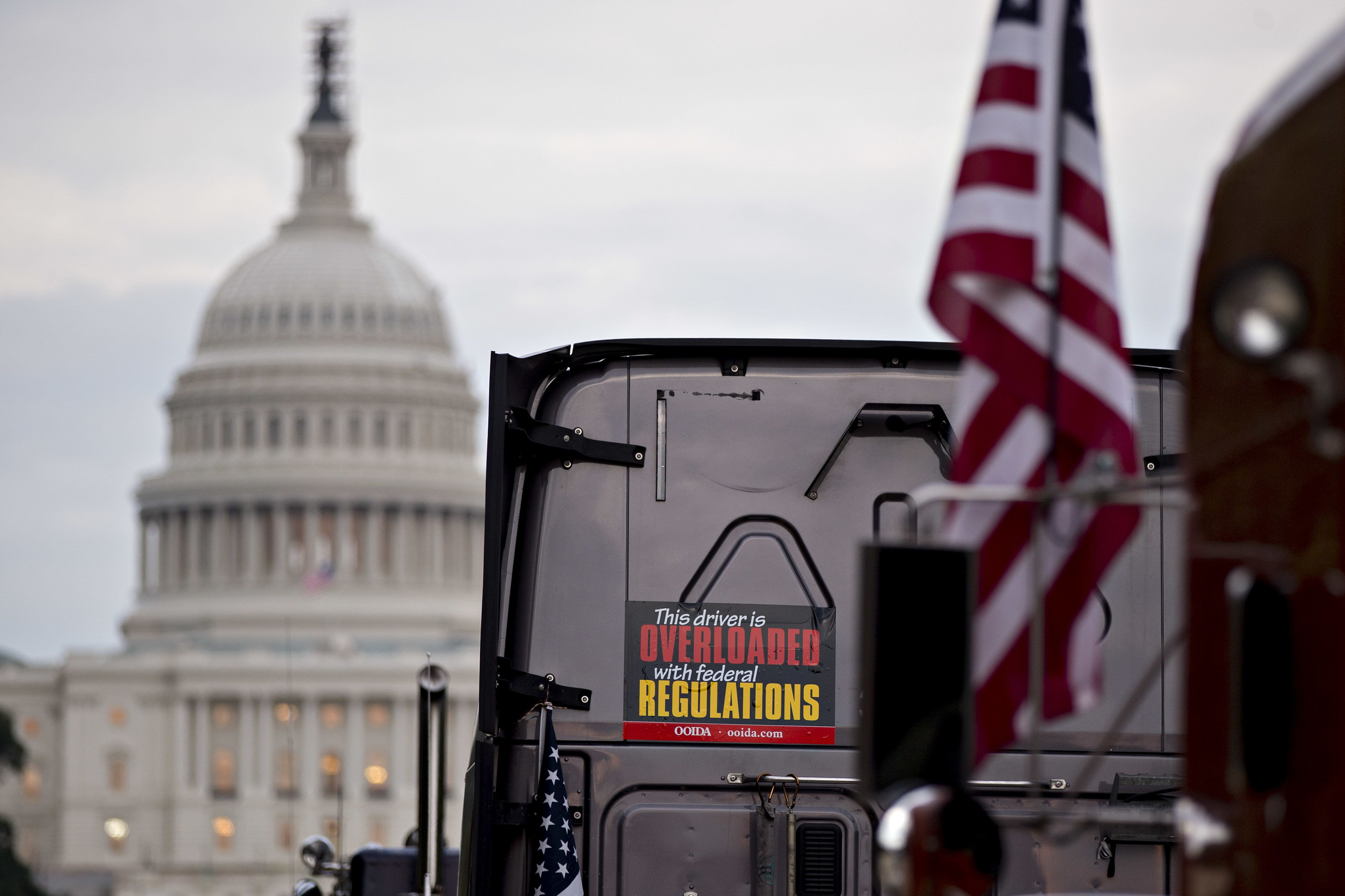 Trucks lined up at a demonstration in Washington in October.&nbsp