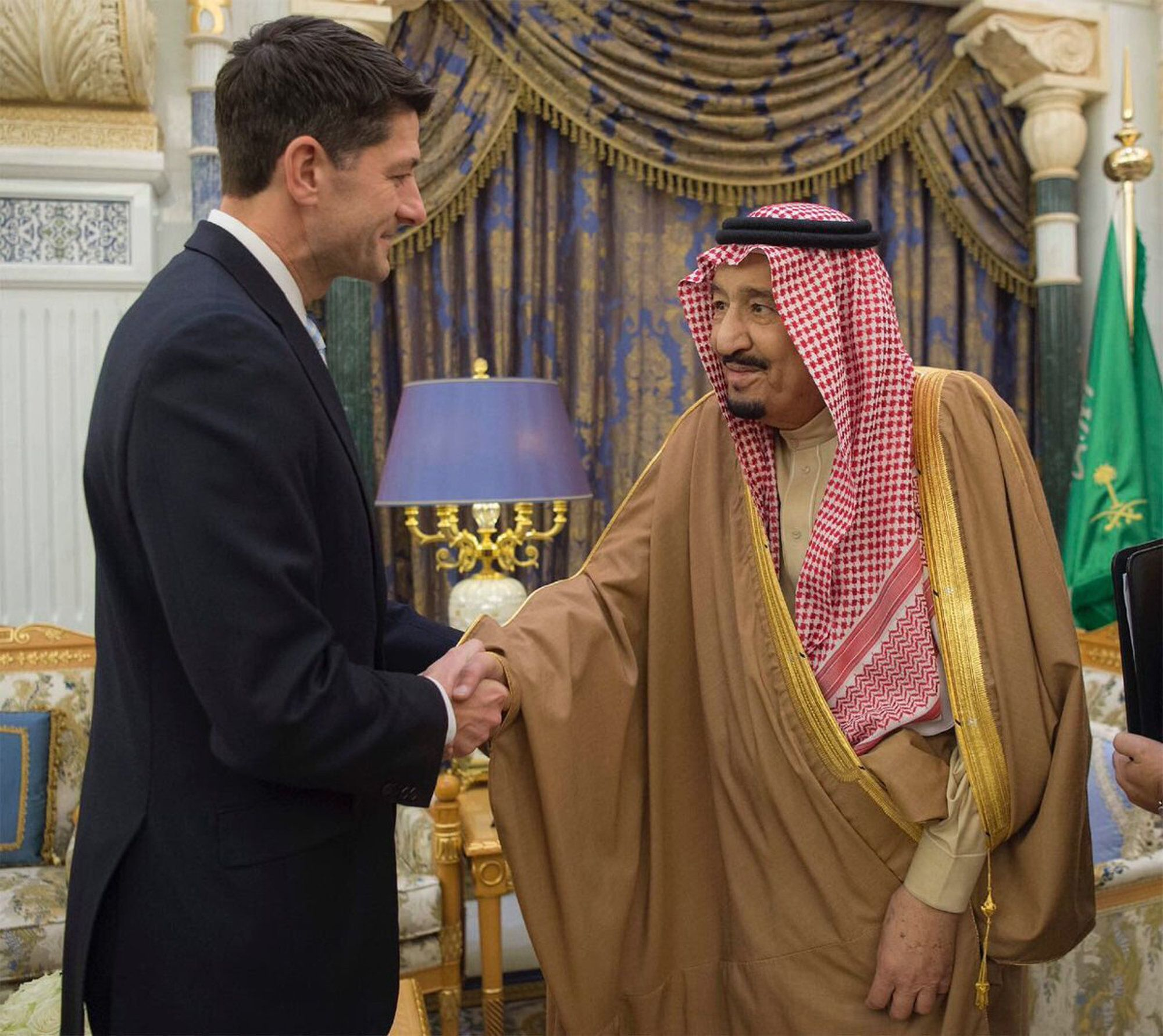 "Saudi King Salman shakes hands with the U.S. House Speaker Paul Ryan, in Riyadh, Saudi Arabia, Wednesday, Jan. 24, 2018.  Ryan is leading a Congressional delegation to the Middle East, traveling with five Republican members of congress and one Democrat. A statement by Ryan's office says his talks in the Middle East ""will focus on regional stability, the campaign against ISIS and terrorism, and Iranian aggression."" (Saudi Press Agency via AP)"