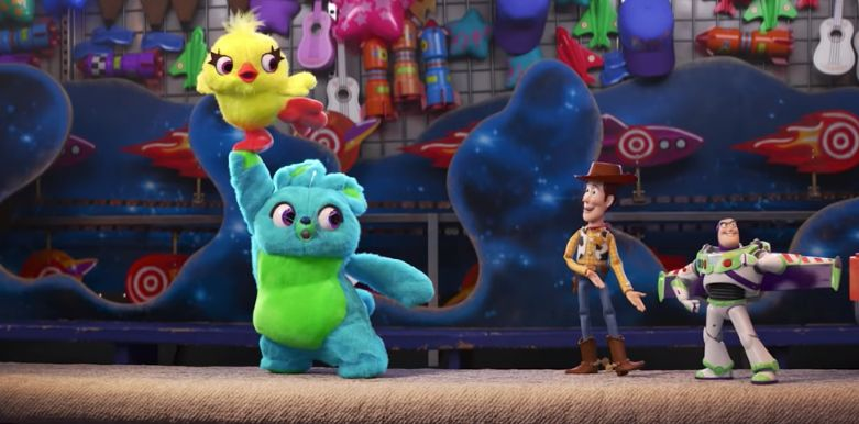 "Ducky, Bunny, Woody and Buzz Lightyear in teaser for ""Toy Story 4."""