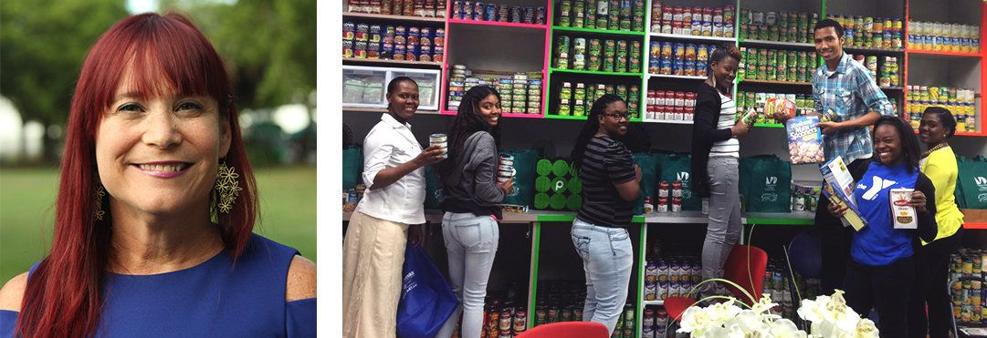 Left: Professor Sarah Garman; Right: Volunteers in the North Campus Food Pantry