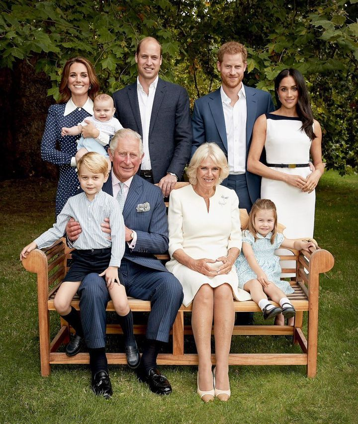 A family portrait taken at Clarence House on Sept. 5, 2018, to celebrate Prince Charles' 70th birthday.