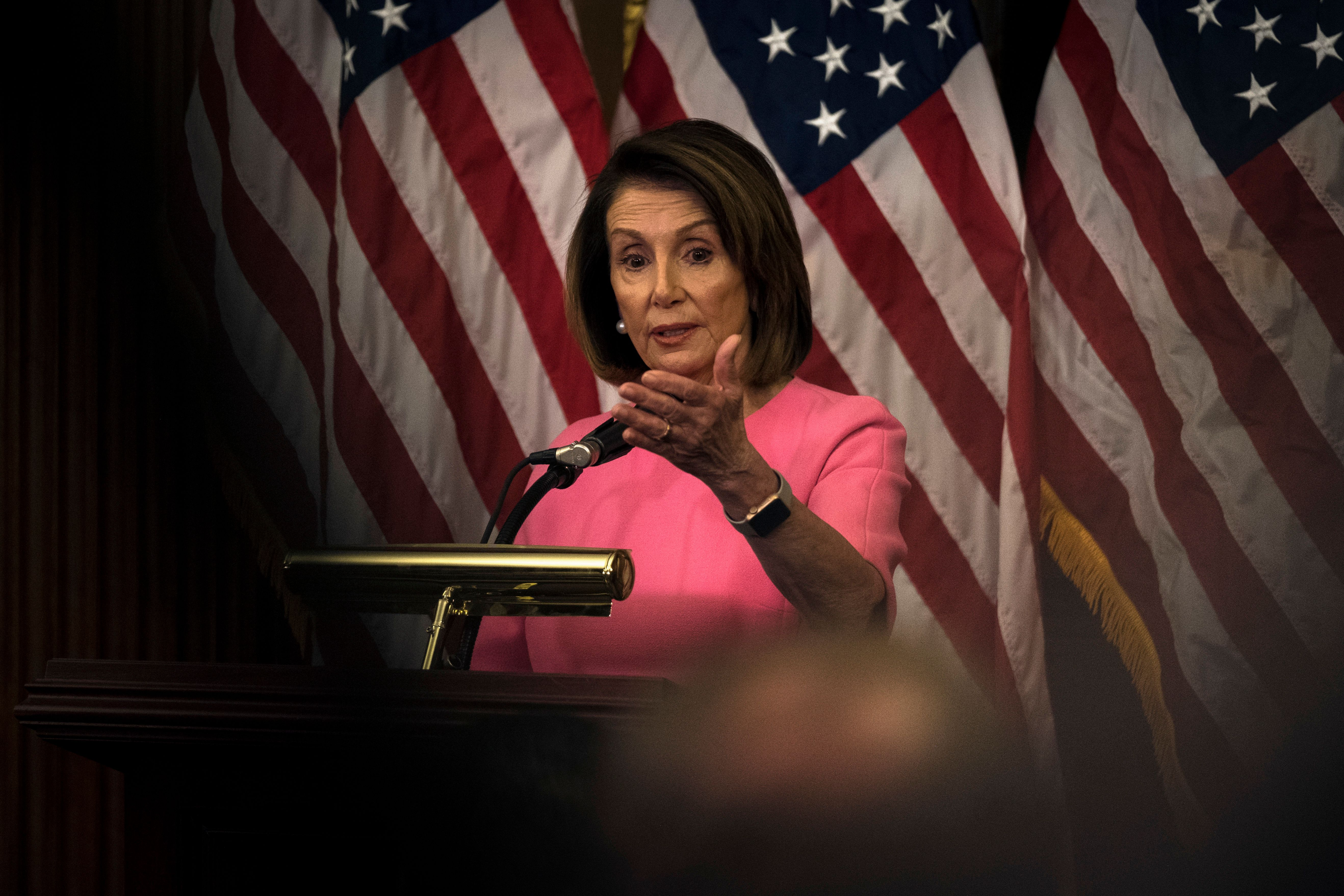 WASHINGTON, DC - NOVEMBER 7: Democratic Leader Nancy Pelosi (R-CA) speaks with reporters in the Rayburn Room at the Capitol in Washington Wednesday November 7, 2018. (Photo by J. Lawler Duggan/For The Washington Post via Getty Images)