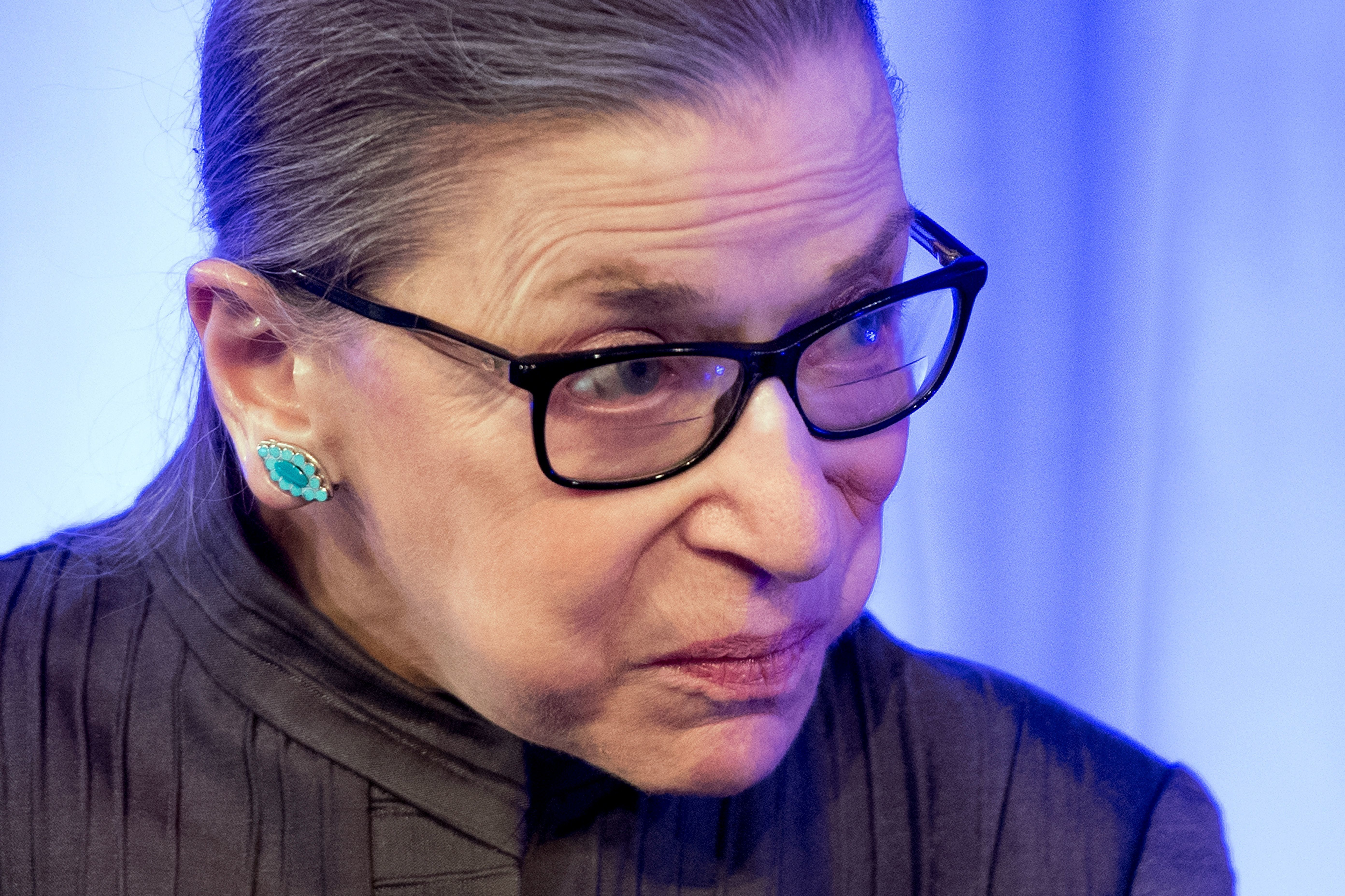 US Supreme Court Justice Ruth Bader Ginsburg speaks after receiving the American Law Institute's Henry J. Friendly Medal in Washington, DC, on May 14, 2018. (Photo by JIM WATSON / AFP)        (Photo credit should read JIM WATSON/AFP/Getty Images)